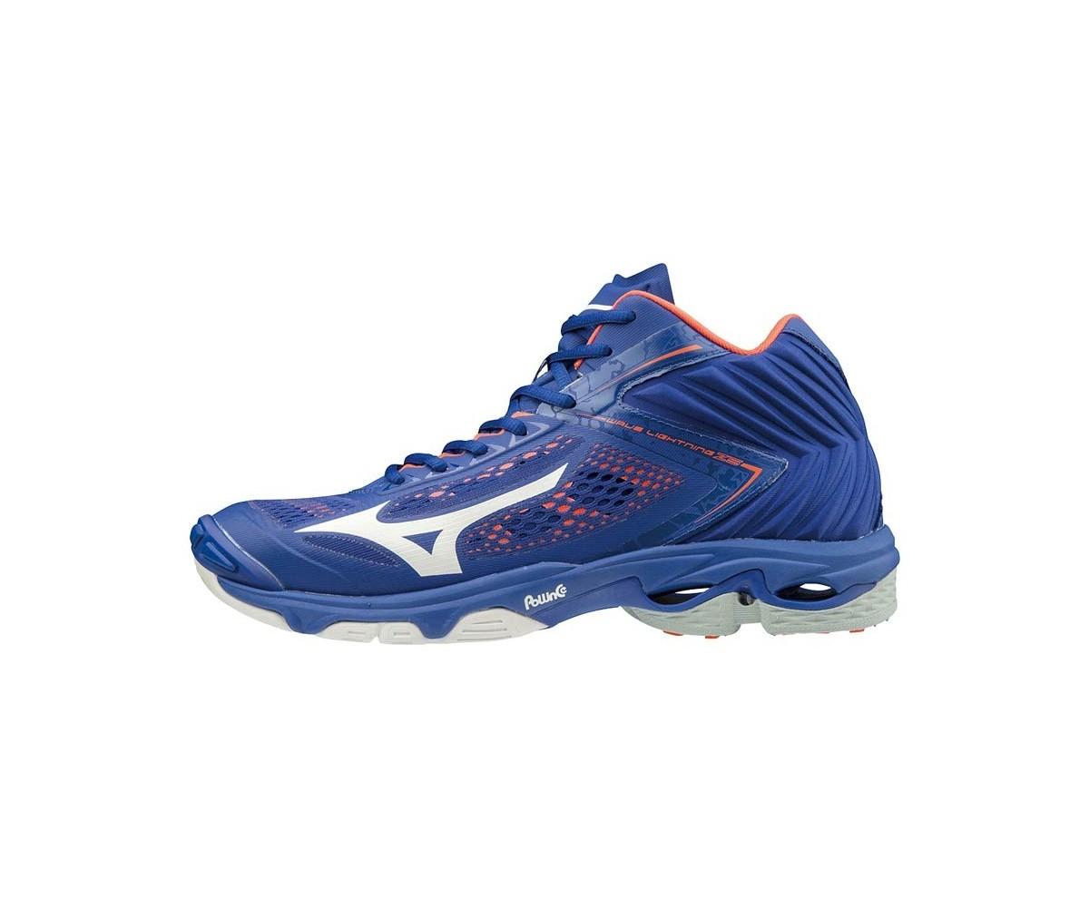 Zapatilla Mizuno Wave Lightning Mid Z5 azul y naranja
